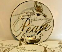 """Vtg PREJECTING 2500 GOLD 8"""" Plate CHINA DINNERWARE Ceramic PEACE w Chip"""