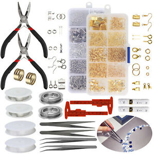 Large Jewelery Making Kit Starter Tool Pliers Set Silver Beads Findings Threa Yl