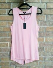 Joes Jeans Cross back Tee   Womens Shirt Tunic long Small pink Top Sleeveless