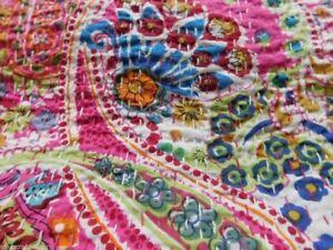 Indian Vintage Quilt Kantha Paisley Print Bedspread Cotton Blanket Ralli Gudari