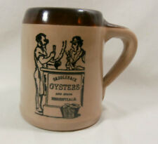 Saddleback Oysters & other Essentials Monmouth Pottery Mug Stein Maple Leaf Logo