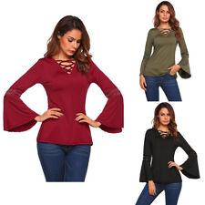 Fashion Damen Langarm T-Shirt Shirts Hemden Bluse V-Ausschnitt Oberteiler Neu LP