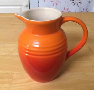 """Le Creuset Flame Red 18oz Pitcher/Creamer, Stoneware, Ombre, 5-3/4"""" high"""