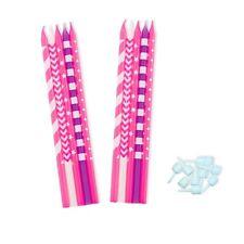 10 Kuchen-Kerzen, pink, rosa, lila, weiß Überraschung, Mädchen-Kinder-Geburtstag