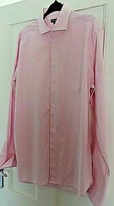 """JAEGER FINE PINK STRIPE DOUBLE CUFF SHIRT  SIZE 16.1/2 44/6"""" CHEST 31"""" LENGTH"""