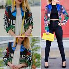 Fashion Women Casual Jacket Long Sleeve Floral Zipper Blazer Suit Outwear Coat