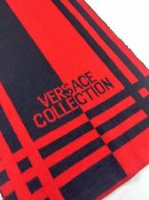 GIANNI VERSACE Collectioni Mens WOOL Stripe Patterned LOGO Knit Scarf / Muffler