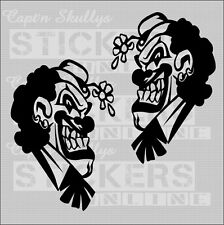 EVIL CLOWNS DECALS X2  95x135mm Captn Skullys Stickers Online MPN 1248 M/purpose
