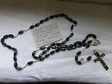 Ancien grand chapelet d'AUVERGNE perles en bois , croix et coeur en metal  1950