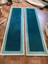 Littlewoods 100% Wool Green Runner Carpets X2, Used, RRP £300