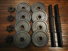 8 x Pro Power Iron Metal Weight Plates total 10kg 1.25kg x 8 + Olympic Bars/nuts