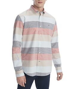 Tommy Hilfiger Mens Stretch Jude Lake Striped Shirt Champagne Toast MSRP $69 NWT