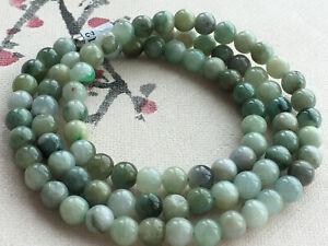 "Certified natural A grade jade Jadeite 20""jade 5.5MM Round Bead Necklace 1315"