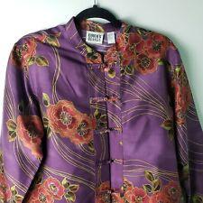Chicos Design Silk Tunic Mandarin Collar Asian Jacket Button Up Floral Sz 2,  XL