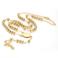 Classic Cross Jesus Pendant Rosary  Chain Long Necklace Mens Women Gold Filled