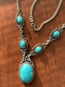 Artisan Crafted Nevada Turquoise Drop Necklace18 inches in Sterling Silver