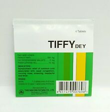 4 TABLETS TIFFY DEY RELIEF COLD NASAL CONGESTION RUNNING NOSE ANTIPYRETIC