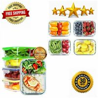 Glass Meal Prep Containers Leak Proof Bento Box Airtight Lunch Microwave Safe