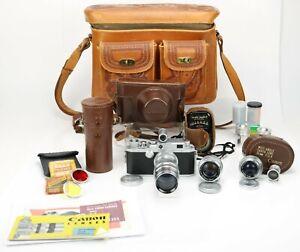 Vintage Canon Rangefinder IV SB2 E-P Camera Bundle w/3 Lenses 2 Rangefinders !