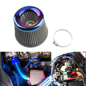 """3"""" 76mm Inlet Cold Air Intake Filter Cone Replacement High Flow Burnt Blue Clamp"""
