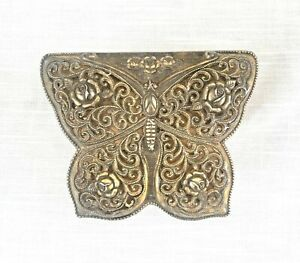 Vintage Gold Tone Filigree Butterfly/Flower/Roses Music Box