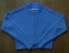 Everlane 100% cotton chunky knit crop cardigan zip sweater, light blue, M, NWOT