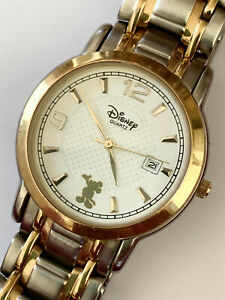 DISNEY TIME WORKS Mens Gold/Silver tone Japan Movt Stainless Steel Quartz Watch