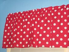 White Polka dots on Red Handmade Cotton Window Valance