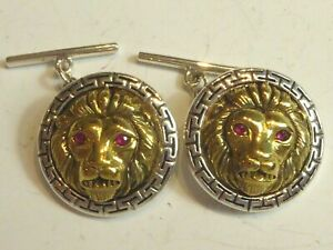 SILVER & GOLD PLATED RUBY EYE LION HEAD CUFFLINKS