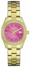 Caravelle New York Ladies' Stainless Steel Gold Pink Crystal Dial Wrist Watch