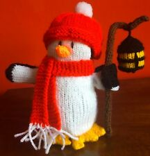 Christmas Penguin Carrying a Lantern Hat and Scarf Winter 18cm tall Handmade