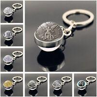 Saint Michael Archangel Christian Catholic Glass Cabochon Ball Keyring Keychain