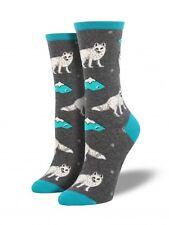 Socksmith Womens Arctic Fox Gray crew socks 1 pair size 9-11 NWT novelty casual