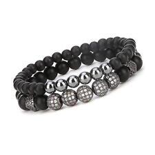 """8mm Charm Bracelet for Men Women Black Matte Onyx Stone Beads, 7.5"""""""