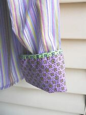 Womens Blouse XS ROBERT GRAHAM DESIGNER Button Lilac Green Contrast Cuff X Small