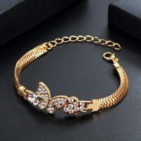 Damen Armband Gold Armkette Armreif Schmuck Kristall Strass Vergoldet Geschenk