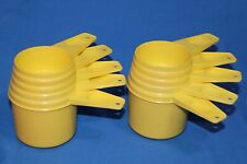 10 Vintage Tupperware Yellow Measuring Cups & Spoons 1/3, 1/2, 2/3, 3/4 & 1 Cup