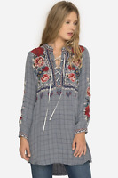 💖 JOHNNY WAS Embroidered MICA LACEUP HENLEY TUNIC Dress Roses WORKSHOP S $278💖