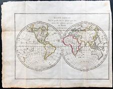 1799 - Mappemonde ancienne - Carte du monde en couleurs