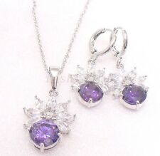Women Purple CZ Cubic zirconia White Gold Plated Drop Hoop Earrings Necklace Set