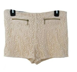 LACE Shorts JUNIORS Size M Zippers Cream Hot Pants Charlotte Russe Sexy