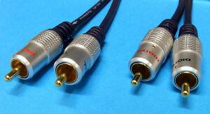 HQ Twin Phono 2 RCA to 2 RCA Plug OFC Audio Cable 2m