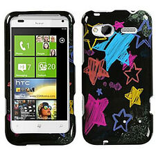 For T-Mobile HTC Radar 4G HARD Protector Case Snap Phone Cover Black Chalk Stars