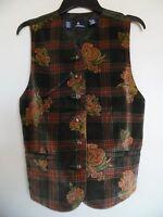 LIZ SPORT Woman's  Green Plaid Velvet V-Neck Vest Size M
