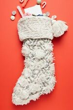 NWT Anthropologie SUGAR PLUM Christmas STOCKING Tassels Knit Silver Embroidery