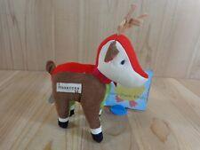 "Starbucks Reindeer 2008 Plush Stuffed Animal 8"" Brown Corduroy Red Green Plaid"