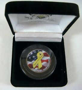 U.S. SUPPORT OUR TROOPS COLORIZED COIN FLAG YELLOW RIBBON JFK HALF DOLLAR EAGLE
