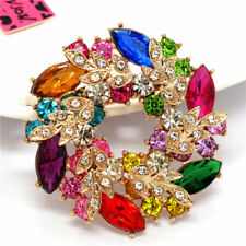 Betsey Johnson Multicolor Rhinestone Wreath Flower Crystal Charm Brooch Pin Gift