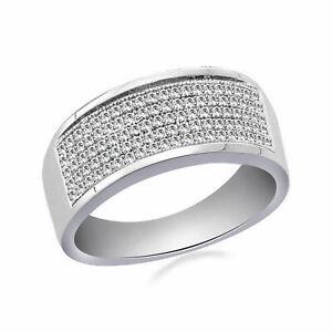 Jewelry 0.32 ct Simulated Diamond Men's Wedding Band Ring Platinum 925