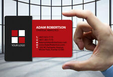 50 Clear Plastic Business Cards Carbon Fiber & Red - 30 Mil Thick - FREE DESIGN